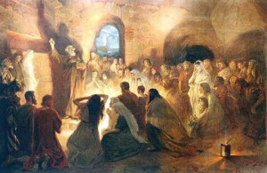 SaintPeterPreachingTheGospelInTheCatacombs_by_JanStyka1858-1925