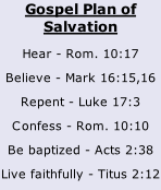 Gospel Plan of Salvation Hear - Rom. 10:17 Believe - Mark 16:15,16 Repent - Luke 17:3 Confess - Rom. 10:10 Be baptized - Acts 2:38 Live faithfully - Titus 2:12